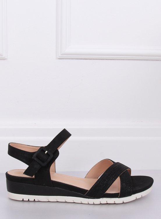 Sandałki na niskim koturnie czarne NS115P BLACK