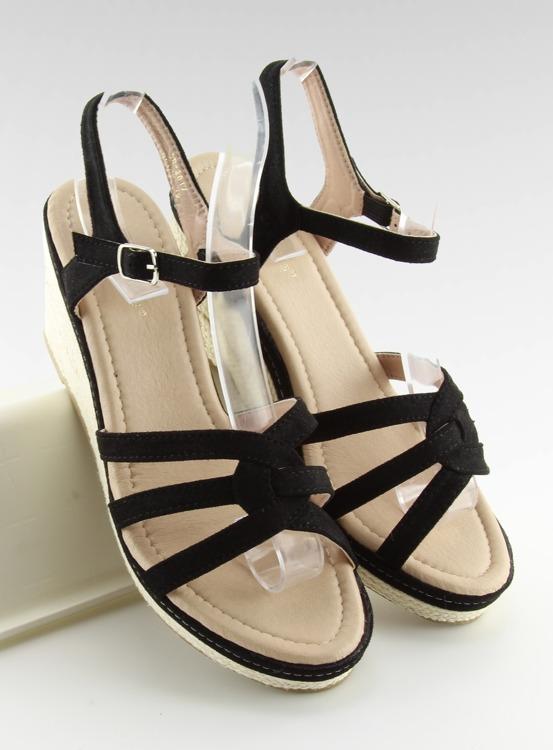 Sandałki na niskim koturnie czarne SR-2817 BLACK