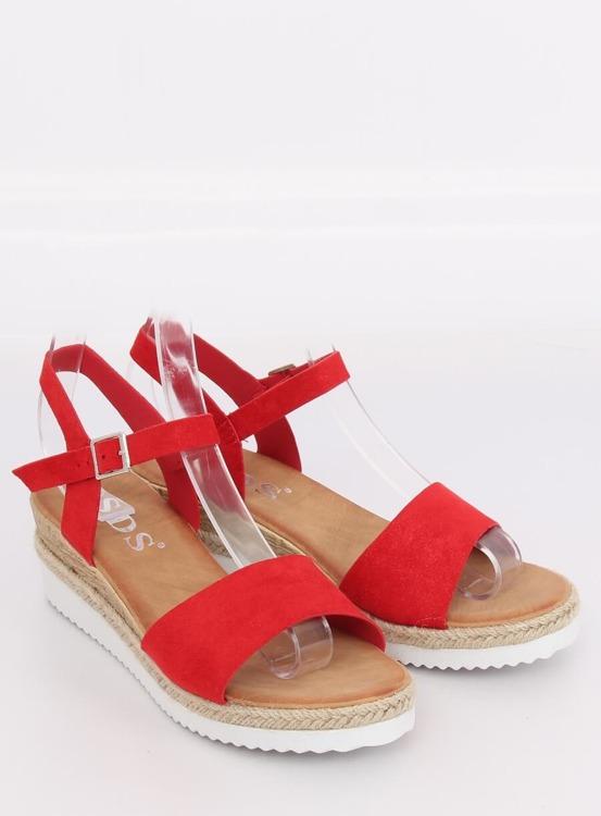 Sandałki na niskim koturnie czerwone 7868-KL RED