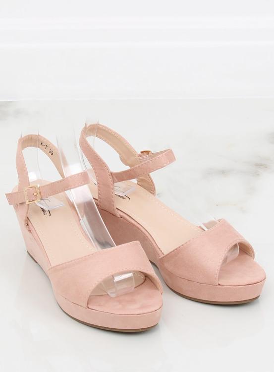 Sandałki na niskim koturnie różowe K-7 PINK