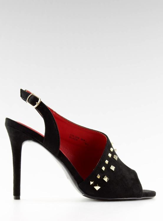 Sandałki na obcasie asymetryczne czarne GH-268 BLACK