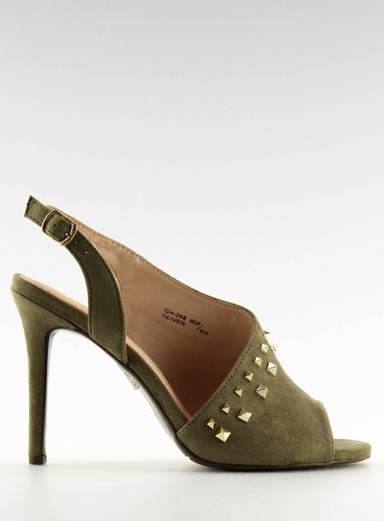 Sandałki na obcasie asymetryczne zielone GH-268 OLIVE