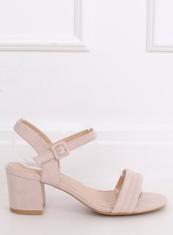 Sandałki na obcasie beżowe 99-61A BEIGE