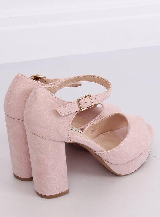 Sandałki na obcasie beżowo-różowe 9R56 NUDE