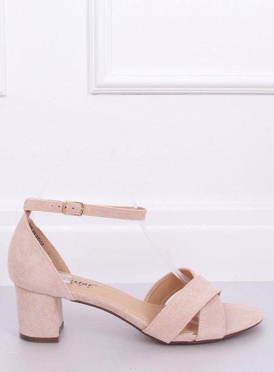 Sandałki na obcasie beżowo-różowe F189P BEIGE