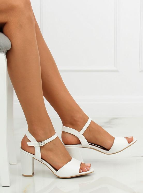 Sandałki na obcasie białe FZ583 WHITE