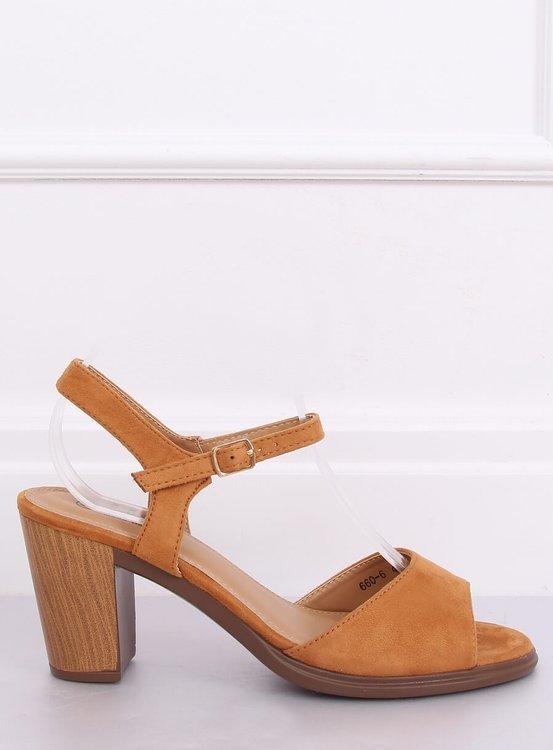 Sandałki na obcasie camel 660-6 CAMEL