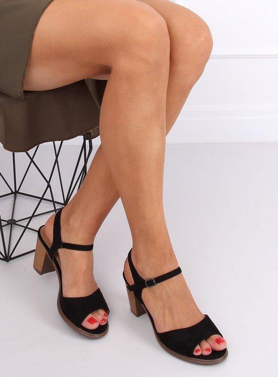 Sandałki na obcasie czarne 660-6 BLACK