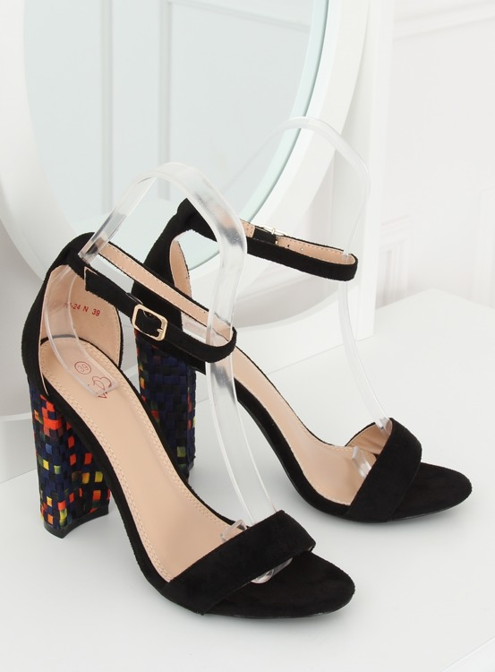 Sandałki na obcasie czarne 708-24 BLACK