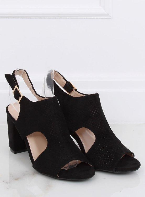 Sandałki na obcasie czarne 99-33A BLACK
