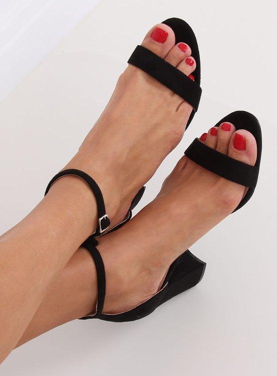 Sandałki na obcasie czarne CD59P BLACK