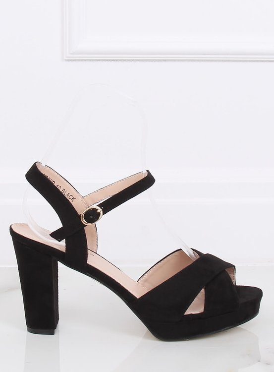 Sandałki na obcasie czarne WD99P BLACK