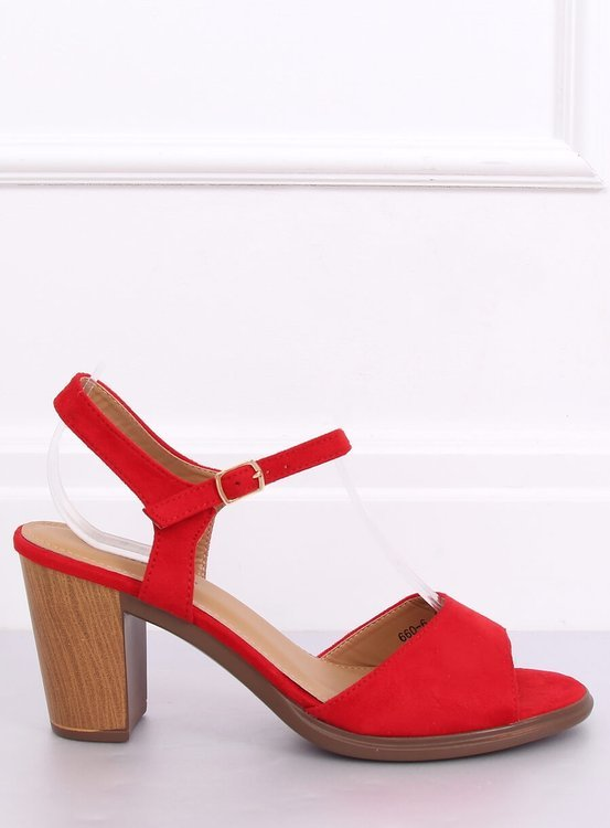Sandałki na obcasie czerwone 660-6 RED