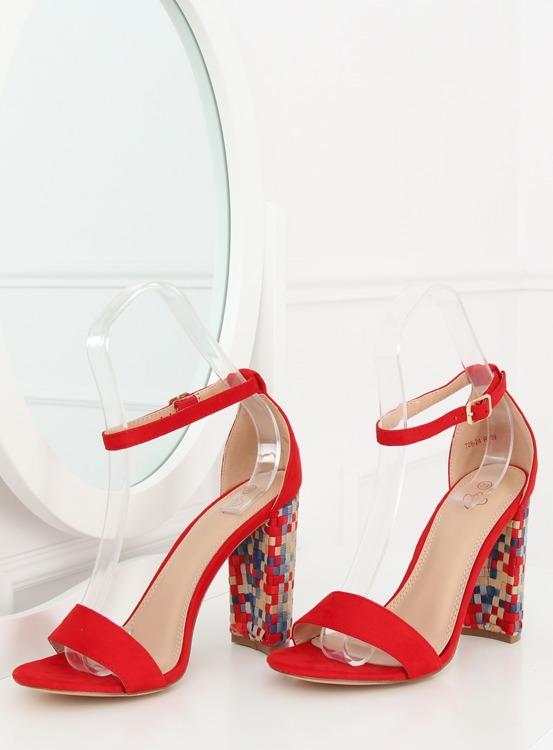 Sandałki na obcasie czerwone 708-24 RED