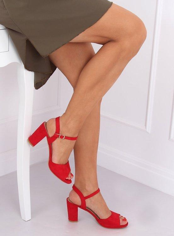 Sandałki na obcasie czerwone 955-47 RED