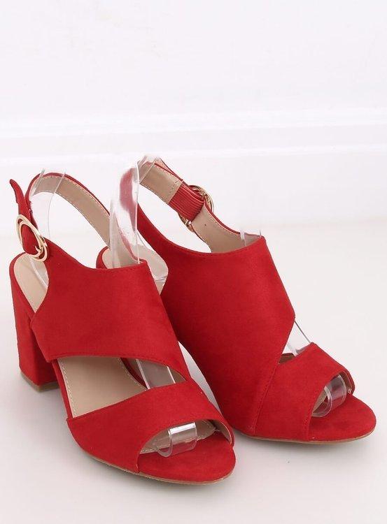 Sandałki na obcasie czerwone A8560 RED
