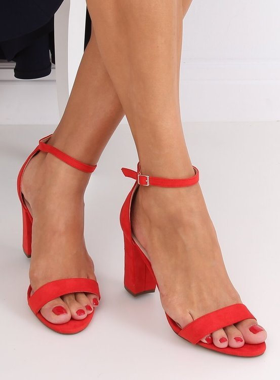 Sandałki na obcasie czerwone CD59P RED
