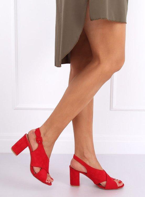 Sandałki na obcasie czerwone F1827 RED
