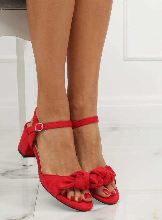 Sandałki na obcasie czerwone FH-3M22 RED