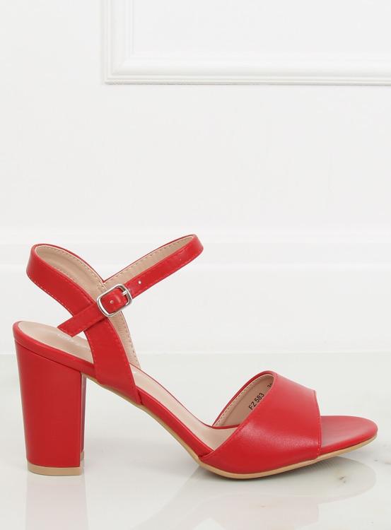 Sandałki na obcasie czerwone FZ583 RED