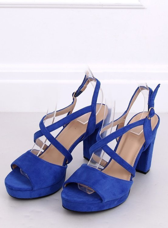 Sandałki na obcasie kobaltowe 9272 AZUL