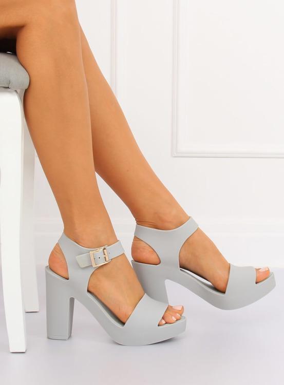 Sandałki na obcasie meliski szare KM202 L.GREY