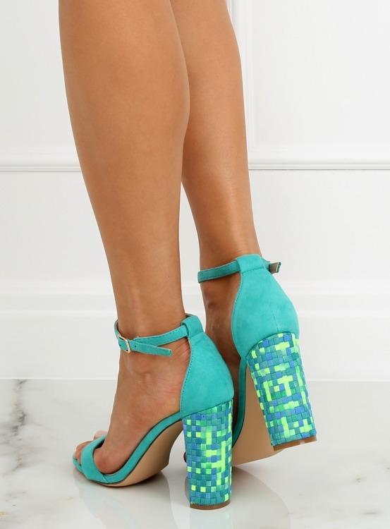 Sandałki na obcasie miętowe 708-24 BLUE