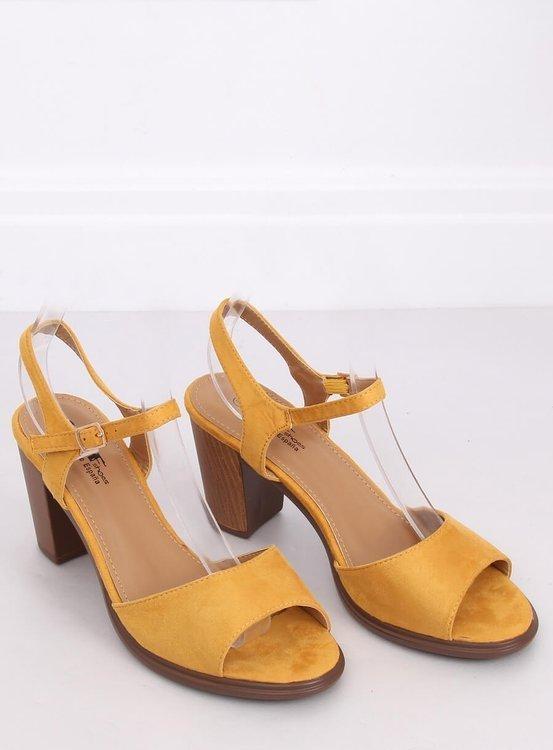 Sandałki na obcasie miodowe 660-6 YELLOW