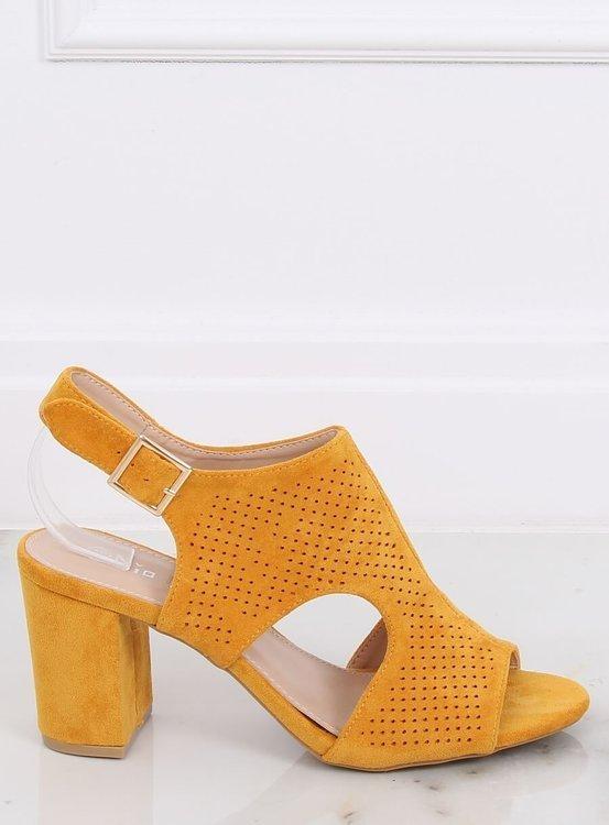 Sandałki na obcasie miodowe 99-33A YELLOW