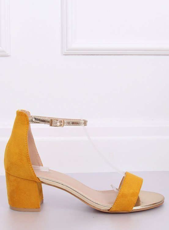 Sandałki na obcasie miodowe M307P YELLOW