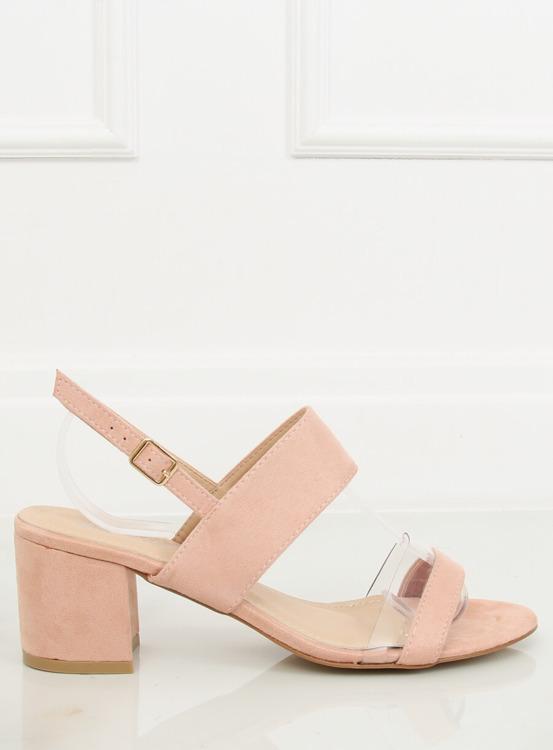 Sandałki na obcasie różowe 660-1/SA-2 PINK