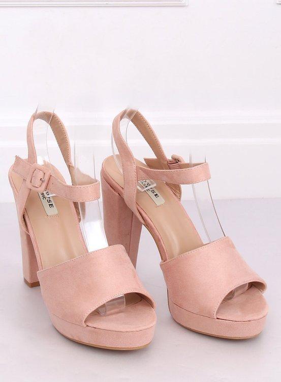 Sandałki na obcasie różowe 9R16 PINK