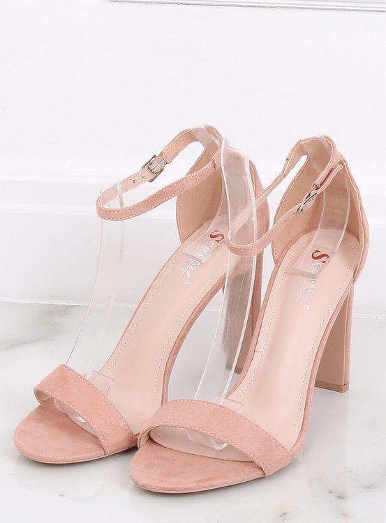 Sandałki na obcasie różowe NF-37P PINK