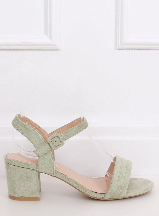 Sandałki na obcasie seledynowe 99-61A GREEN