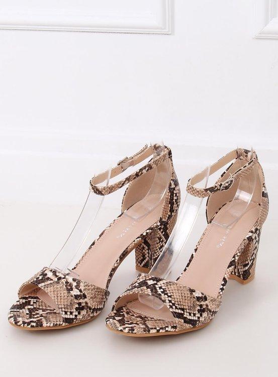 Sandałki na obcasie skóra węża 88-395 TAUPE SNAKE