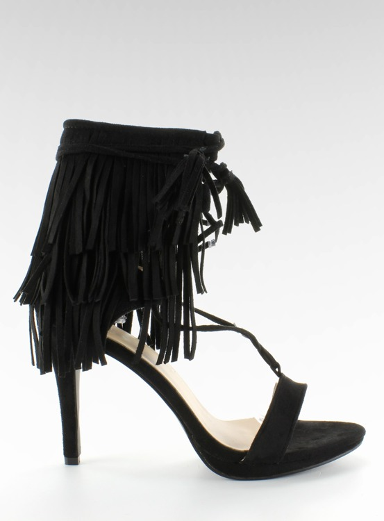 Sandałki na obcasie z frędzlami 8125 Black