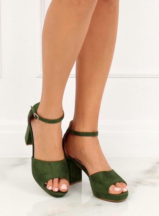 Sandałki na obcasie zielone 6952-GL GREEN