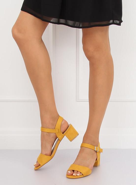 Sandałki na obcasie żółte 8103 YELLOW