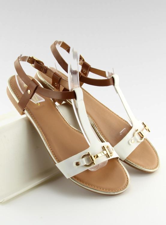 Sandałki na płaskiej podeszwie białe 9871 WHITE