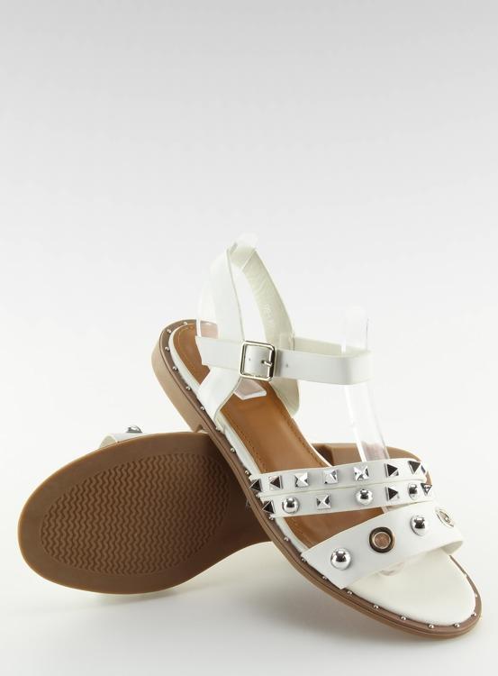 Sandałki na płaskiej podeszwie białe 99-19 WHITE