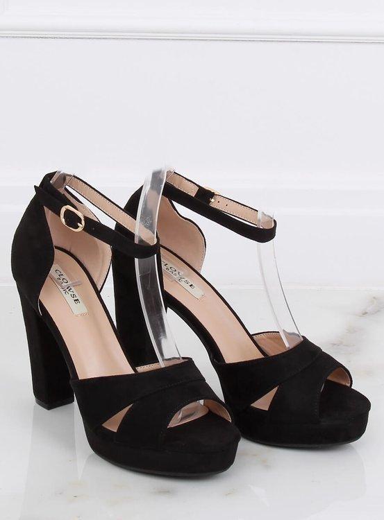Sandałki na platformie czarne 9R12 BLACK