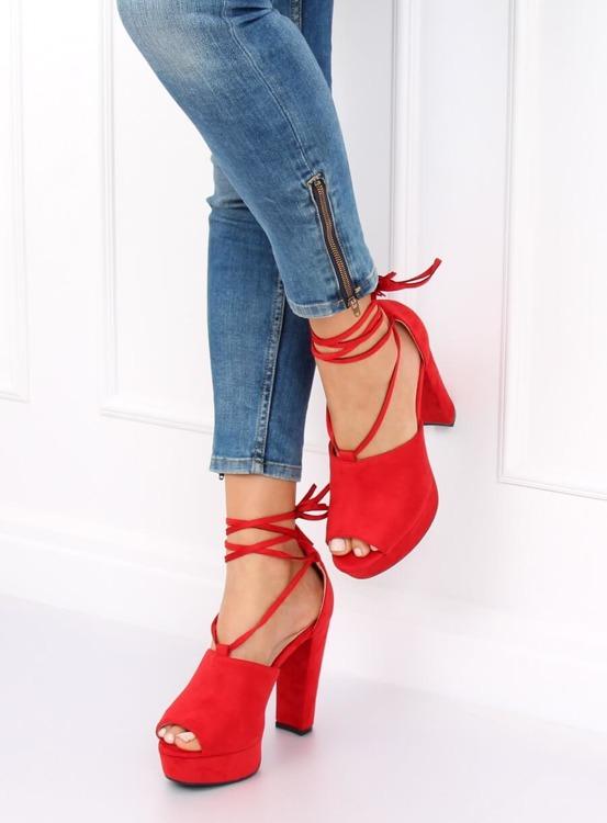 Sandałki na platformie czerwone LM-058 RED