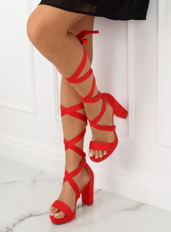 Sandałki na platformie czerwone NC805 RED
