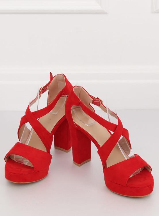 Sandałki na platformie czerwone VV-23 RED
