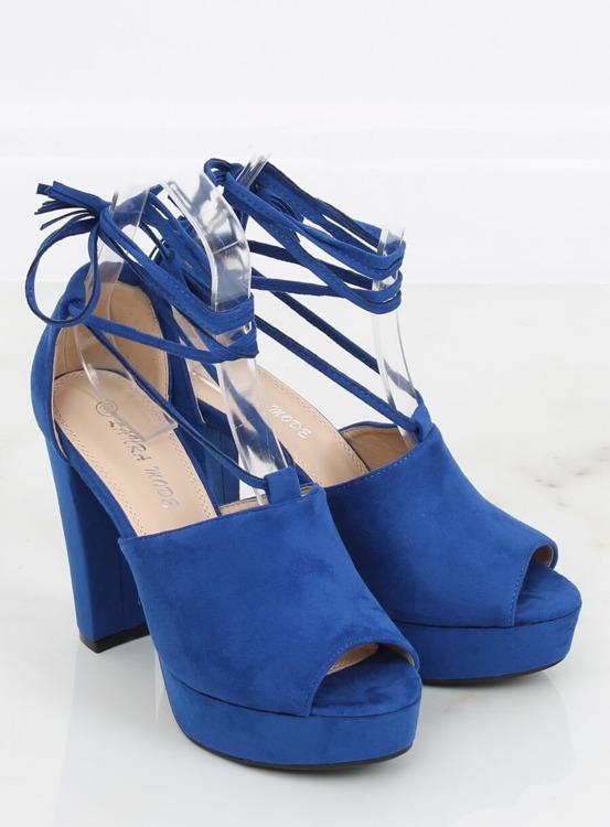 Sandałki na platformie kobaltowe LM-058 BLUE