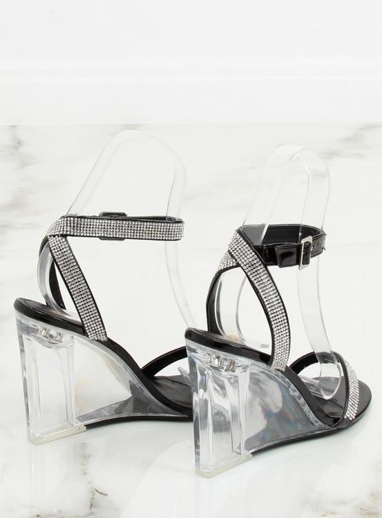 Sandałki na przezroczystym koturnie czarne JR1801 BLACK