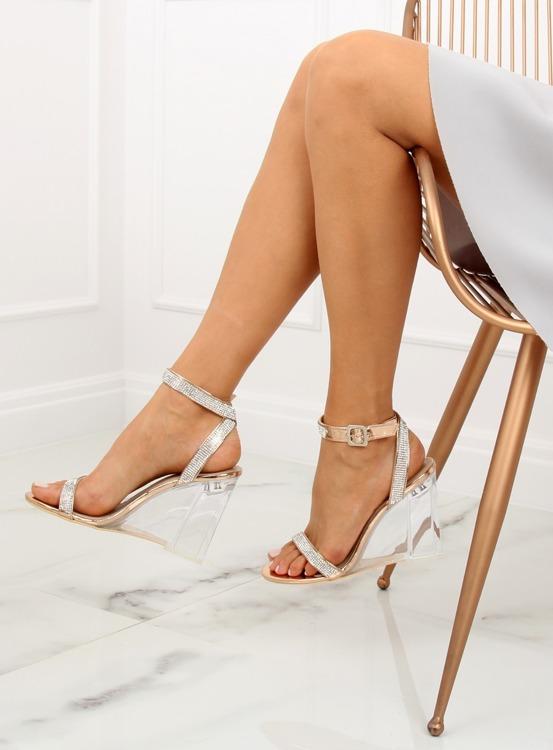 Sandałki na przezroczystym koturnie szampańskie JR1801 CHAMPAGNE
