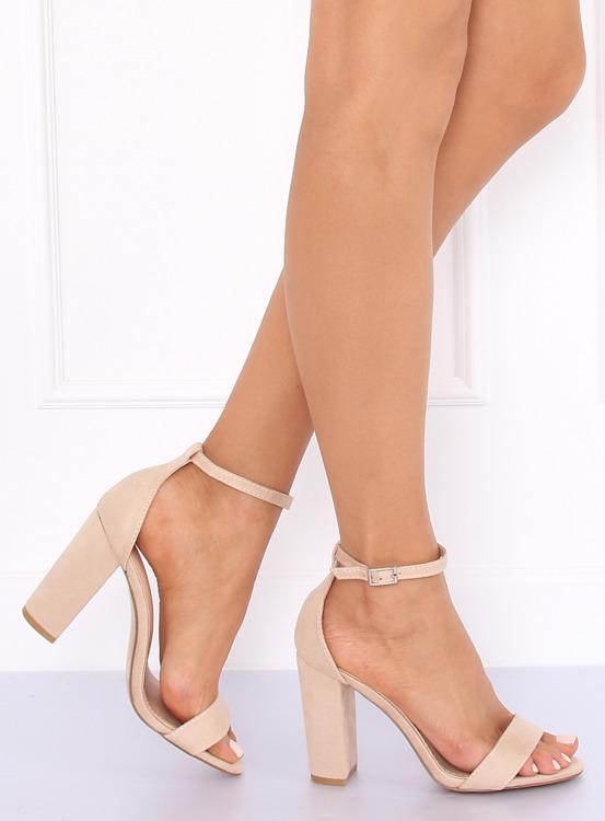 Sandałki na słupku beżowe Y2385-27 BEIGE