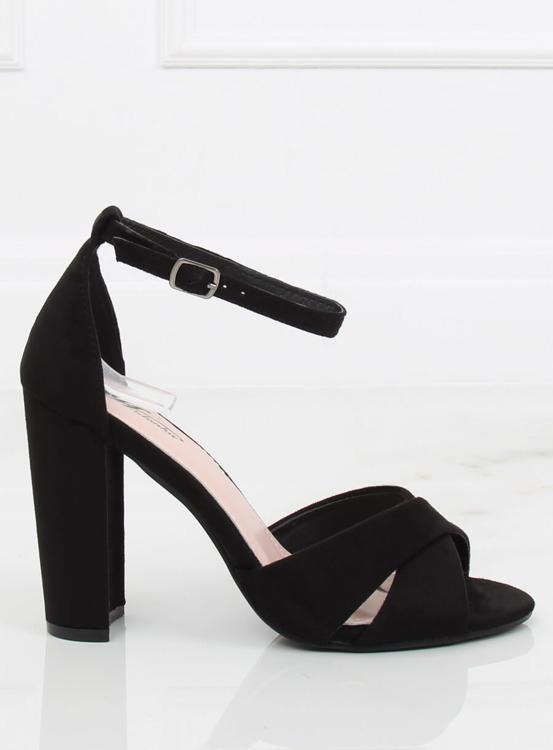 Sandałki na słupku czarne 369-34 BLACK