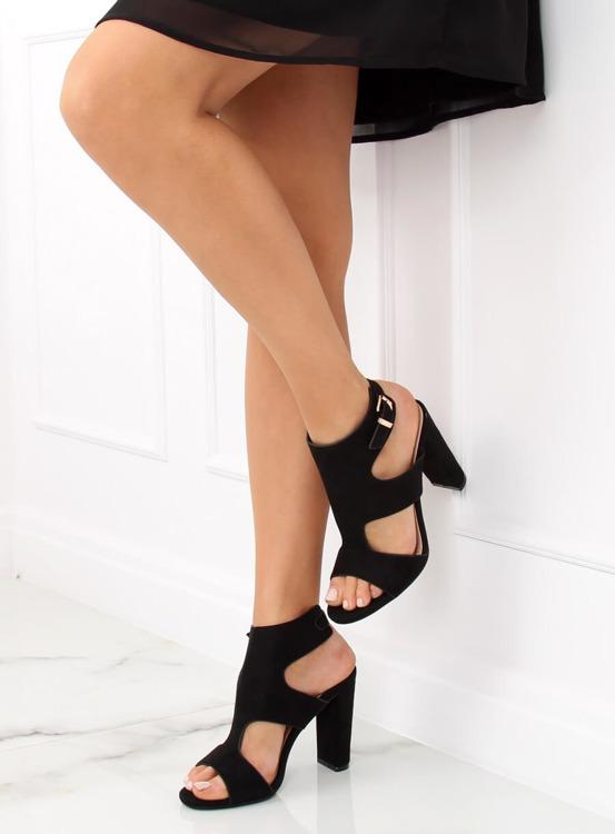 Sandałki na słupku czarne J-8711 BLACK
